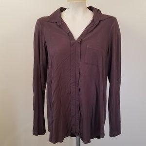 Pleione Mocha brown Collar L/S  jersey Pullover L